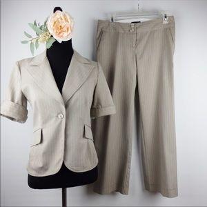Zinc Tan Striped Suit Set Small